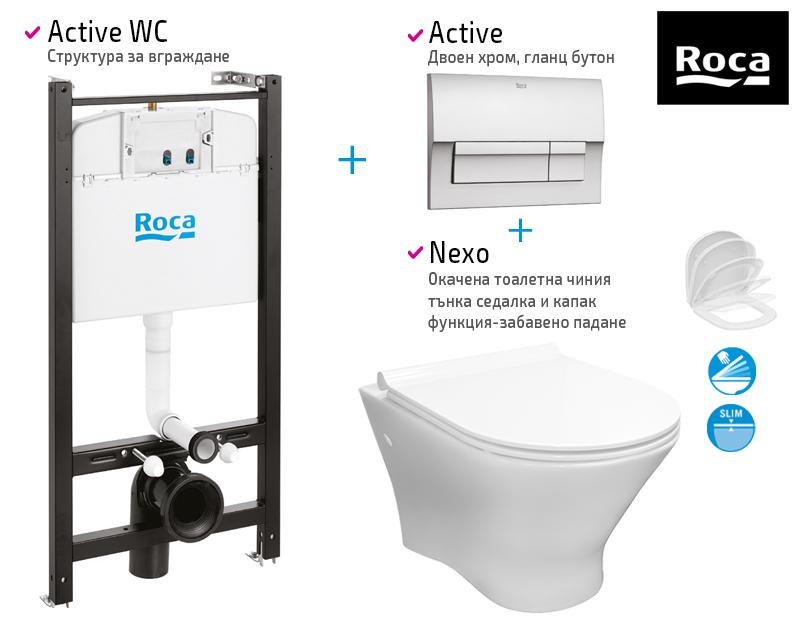 Окачена тоалетна Nexo + структура и бутон Active + седалка и капак