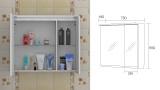 Горен шкаф огледало Флорида - 75 см - скица
