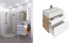 Комплект мебел за баня Хюстън 60 см с дървесен принт