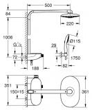 Душ система GROHE с термостат за стенен монтаж с  умен контрол - 360 DUO