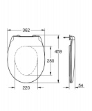 Скица на тоалетна седалка и капак Bau Ceramic