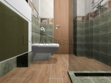 Проект на баня с плочки Cementine и декор Brush Ocre