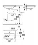 Скица на мивка Bau Ceramic 55 см - Арт. номер 39422000