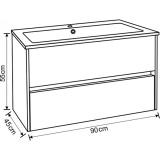 Долен, конзолен шкаф за баня с чекмеджета Фрида- Размер