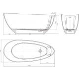Свободностояща каменна вана ICL 65177 - размери