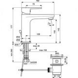 Смесител за умивалник с изпразнител Tyria BC159AA-скица
