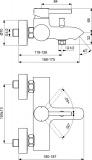 Черен смесител за вана/душ Kolva - размери