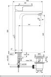 Смесител за мивка Ceraplan III H250 с изпразнител - размер