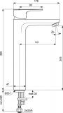 Смесител за мивка Ceraplan III H250 с изпразнител-BC562AA - скица