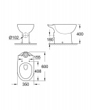 Скица на тоалетна чиния Bau Ceramic