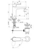 Смесител за мивка Tyria с изпразнител  BlueStart - BC154AA-схема