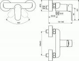 Схема на смесител за душ Tyria BC156HO- Хром/Бял мат