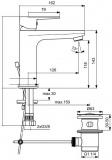 Смесител за мивка с изпразнител Tyria BC159HS хром/черен мат-схема