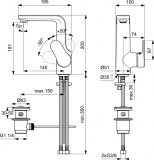 Смесител за мивка SevaNext B0438AA Vidima с висок чучур - схема