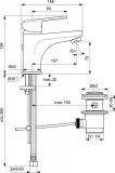 Смесител за мивка SevaL B0966AA Vidima с изпразнител - Схема