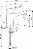 Смесител за мивка SevaNext B1922AA Vidima без изпразнител - схема