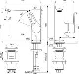 Смесител за мивка SevaTop BC399AA Vidima с click изпразнител - схема