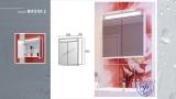 Схема на горен PVC шкаф-огледало Канзас